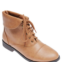 Faux Leather Fold Over Lace-Up Booties   Wet Seal