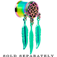 00 Gauge Rainbow Titanium Dreamcatcher Dangle Tunnel | Body Candy Body Jewelry