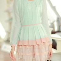 Love Sprung Floral Laser Cut Collar Pleated Blouse in Mint/Pink   Sincerely Sweet Boutique