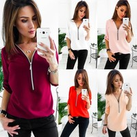 Casual Women Ladies New Fashion Zipper V neck Long Sleeve Blouse Casual Shirt Tops
