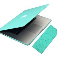 UHURU CASE - 2 in 1 Bundle - Turquoise Blue Rubberized/Satin Case and MATCHING color keyboard cover (LATEST VERSION / No DVD Drive / Release June 2012) with UHURU cleaning cloth