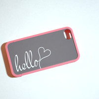 I Say Hello Monogrammed Custom Insert with Pink Bumper Case for iPhone 4 And 4s - unique iphone case, your name, initial, hearts, gray