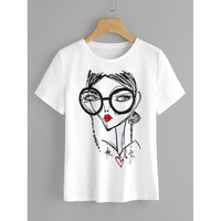 Cartoon Portrait Print Tee WHITE
