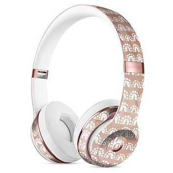 Black and Brown Grunge Surface with White Semi-Circles Full-Body Skin Kit for the Beats by Dre Solo 3 Wireless Headphones