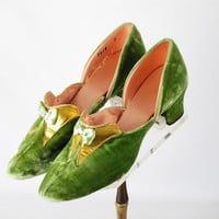 Vintage Lime Green and Pink Velvet Boudoir Slippers w/ Cuban Heels