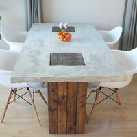 Custom Concrete and Wood Modern Rustic Dining Table