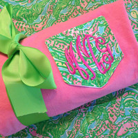 Long Sleeve PINK Tee with Lilly Fabric Monogrammed Pocket