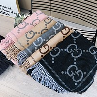 GUCCI New Letter Embroidered Tassel Cashmere Scarf Shawl