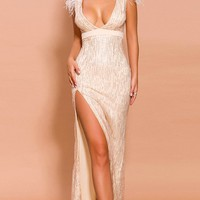 Royal Wedding Pink Gold Glitter Feather Cap Sleeve Plunge V Neck Side Slit Maxi Dress - Sold Out