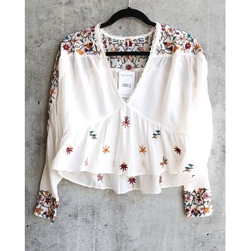 Free People Ava Embroidery Blouse - Ivory