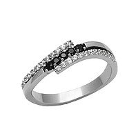 Celestial - FINAL SALE Tri split band multiple CZ black and white diamond cut stones silver stainless steel ring
