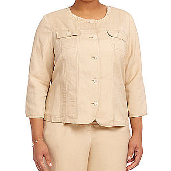 Ruby Rd. Plus Embellished Jewel-Neck Button Front Jacket - Dune