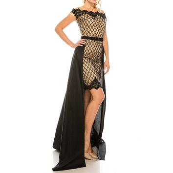 Odrella Embroidered Mesh Lattice Patterned Sheath Dress with Black