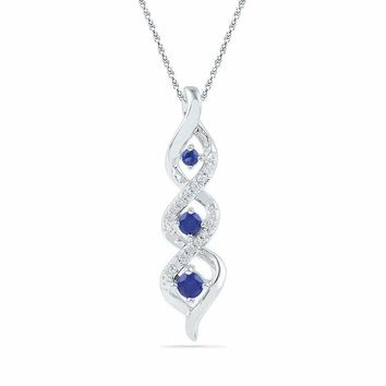 10kt White Gold Women's Round Lab-Created Blue Sapphire Cascading 3-stone Pendant 1-3 Cttw - FREE Shipping (US/CAN)