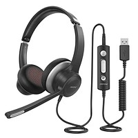 Mpow HC6 USB Headset with Microphone, Comfort-fit Office Computer Headphone, On-Ear 3.5mm Jack Call Center Headset for Cell Phone, 270 Degree Boom Mic, in-line Control with Mute for Skype, Webinar Black
