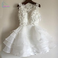 2017 White Floral Appliques Ball Gown Mini Cocktail Dresses Ruffle Short Prom Dress 2017 Formal Party Gowns Robe De Soiree GF109