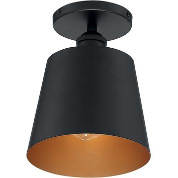 "7""W Motif 1-Light Close-to-Ceiling Black / Gold Accents"