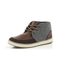 River Island Boys brown material panel boots