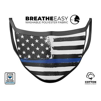 Grunge Patriotic American Flag with Thin Blue Line V2 - Made in USA Mouth Cover Unisex Anti-Dust Cotton Blend Reusable & Washable Face Mask with Adjustable Sizing for Adult or Child