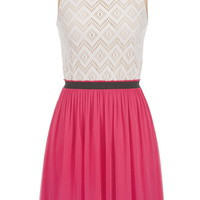2fer dress with lace top in pink escape