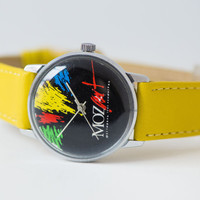 Wolfgang Amadeus Mozart festival watch, festival Leningrad 1991 watch, black red yellow brush strokes watch, premium leather strap new
