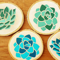 Hand painted drink coasters, Coaster set of 4, Succulent art, Natural and modern decor, Birch wood decor