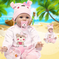 Reborn Baby Dolls 22 Inch Soft Silicone Baby Dolls Lifelike Realistic Cute Newborn Baby Alive Doll Toy Kids Gift Free Shipping