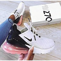 Nike Air Max 270 Fashion Women Casual Sport Running Shoes Sneakers White&Pink