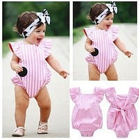 2016 Baby Girls Clothes 0-18M Newborn Infant Baby Bodysuit Cute Girls Summer Pink Striped Bodysuits One-pieces Kids Clothing