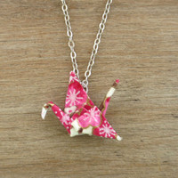 Pink Origami Crane Necklace, Pink Necklace, Cute Necklace, Origami Crane Jewelry, Magenta Necklace, Cute Jewelry, Origami Necklace