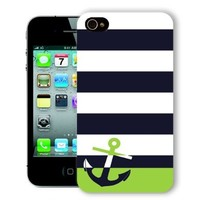 ChiChiC Iphone Case, i phone 4 4g 4s case,Iphone4 iphone4g iphone4s covers, plastic cases back cover skin protector,geometric Navy blue green Anchor