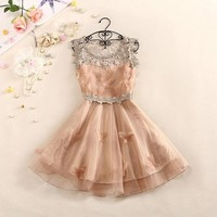 Sweet And Elegant Crochet Butterfly Organza Dress A 082609 -457