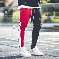 2019  Cotton Mens Long Color Block Street Patchwork Zippers Elastic hip pop Casual Pencil Pant Sweatpants Trousers Jogger Pants