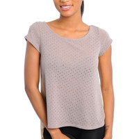 Short Sleeve Knit Top with Extended Hem