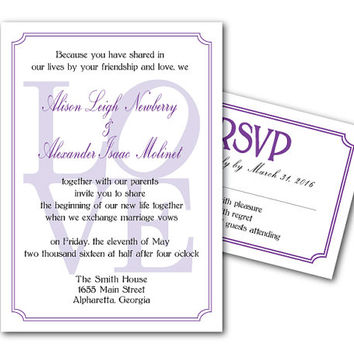 Printable Wedding Invitation Template and RSVP Card - Printable File - DIY invites - Love - Love Typography