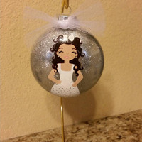 Hand painted/ Personalized/ Custom/  Bridesmaid/ Maid of honor/ Jr. Bridesmaid or flowers Girl glass christmas ornament