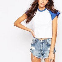 Rokoko Boxy Cropped Raglan T-Shirt With Contrast Colour