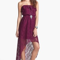 Trixxi Lace Strapless High/Low Dress (Juniors) (Online Only) | Nordstrom
