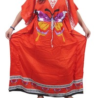 Women's Boho Kaftan Orange Butterfly Printed Dashiki Dress