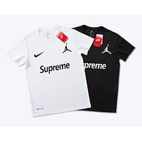 Nike Jordan joint name Supreme street fashion men and women street versatile fashion round neck T-shirt