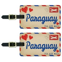 Air Mail Postcard Love for Paraguay Luggage Tag Set
