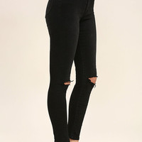 Rollas Westcoast Staple Washed Black Distressed Skinny Jeans