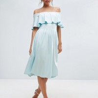ASOS Ruffle Bardot Midi Skater Dress at asos.com