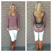 Burgundy Stripe Low Back Embroidered Top