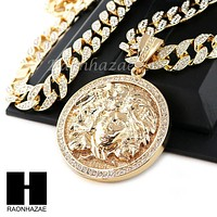 "Hip Hop 14k Gold Plated Medusa Medallion Pendant 30"" Cuban Link Chain 1"