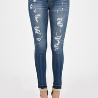 Becca Distressed Patched Denim Skinny Jeans
