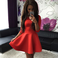 2015 New Arrival Women Autumn Dress O-Neck Three Quarter Sleeve Solid Casual Dress Evening Party Sexy Mini Dress Plus Size