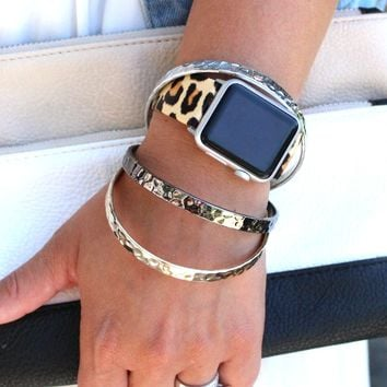 Leopard Leather Apple Watch Bands | Animal Print Apple Replacement Band