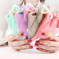 """2017 Cartoon 3D Soft Cute Silicone Rabbit Bunny Case For iPhone 7 5 5S SE 4 4S 6 6S 7 Plus 4.7"""" 5.5"""" Lovely Rabito Phone Back Cover -0329"""
