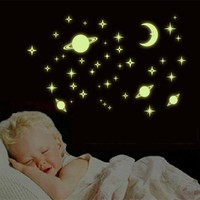 Creative DIY Star World Moon Planet Glow In The Dark Luminous PVC Wall Stickers Home Decor for Kids Room Removable Wall Decal